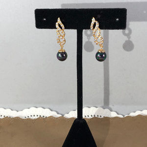 Gem Empourium Jewelry - 14K Yellow Gold Filled Black Pearls & Crystal Stud